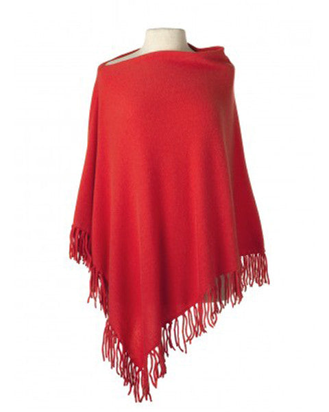 Cashmere Fringed Cape in Papaya
