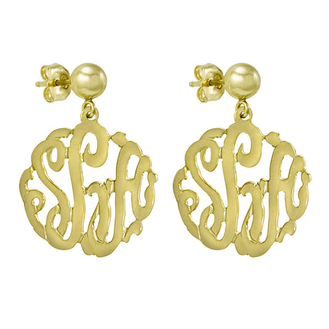 Hand Cut Script Monogram Earring