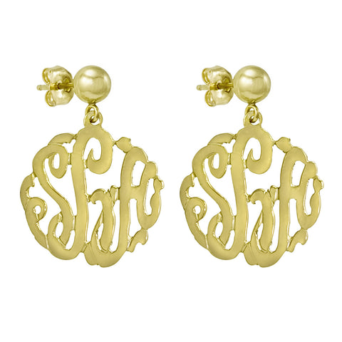 filigree monogram monogramearrings description metal earrings
