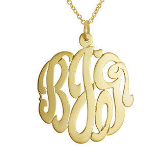 Hand Cut Script Monogram Necklace