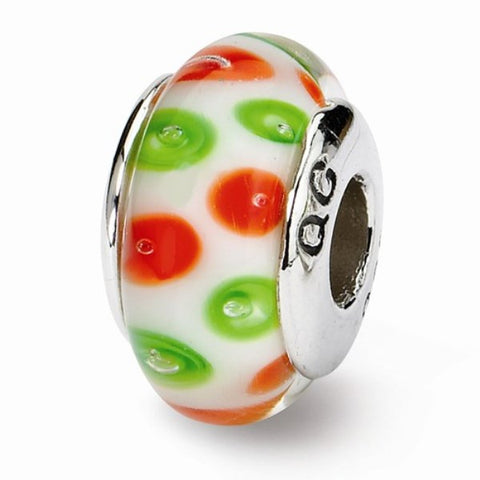 Red and Green Polka Dot Glass Bead