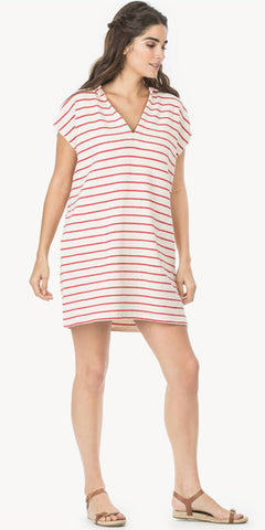 Hooded Terry Dress in Red Stripe