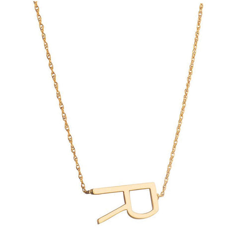 Sideways Letter Necklace in Gold by Jane Basch