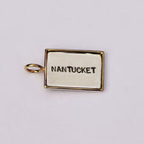Rectangular 14kt Gold Rimmed Nantucket Charm