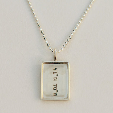 Latitude/Longitude Nantucket Charm Vertical