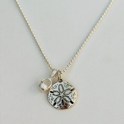 Sterling Silver Sand Dollar or Tiny Basket Charm