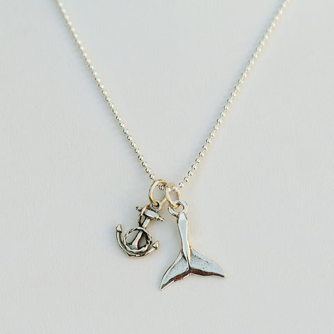 Sterling Silver Anchor or Whale Tail Charm
