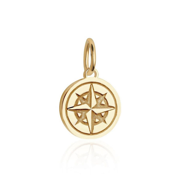 Mini Compass Charm in Gold Vermeil by Jet Set Candy