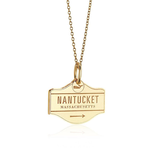 Nantucket Street Sign Charm in Gold Vermeil by Jet Set Candy