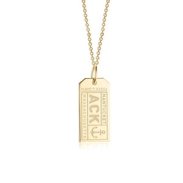 Nantucket Luggage Tag Charm in Gold Vermeil by Jet Set Candy