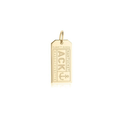 Nantucket Luggage Tag Bracelet Charm in Gold Vermeil