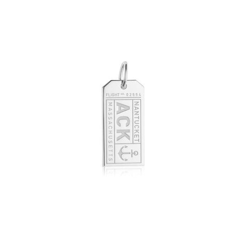 Nantucket Luggage Tag Bracelet Charm in Sterling Silver