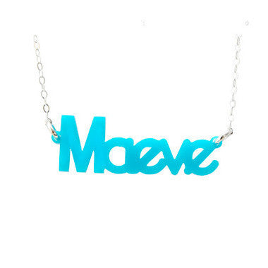 Zebra Font Acrylic Nameplate Necklace by Moon & Lola