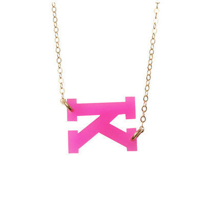 Sideways Acrylic Varsity Initial Necklace