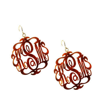 Script Acrylic Monogram Earrings - Tortoise