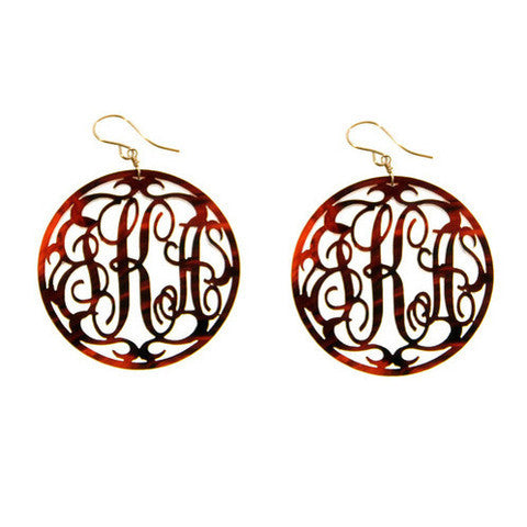 Rim Script Acrylic Monogram Earrings