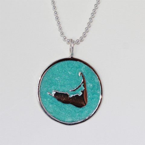 Large Enamel Island Charm in Pearlized Aqua