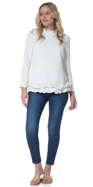 Long Sleeve Double Ruffle Top in Ivory