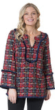 Long Sleeve Plaid Tweed Fringe Tunic in Red