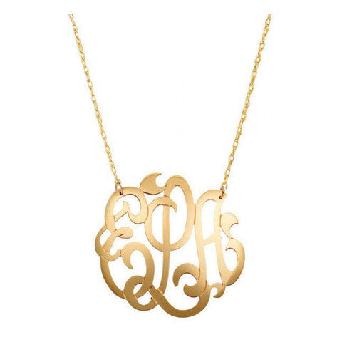 Swirly Script Monogram Necklace in Gold by Jane Basch