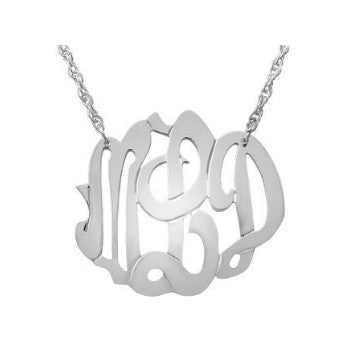 Swirly Script Monogram Necklace in Sterling Silver by Jane Basch