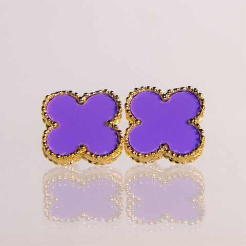 Large Purple Quatrefoil Earrings