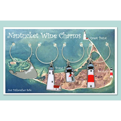 Nantucket Lighthouse Wine Charms Set