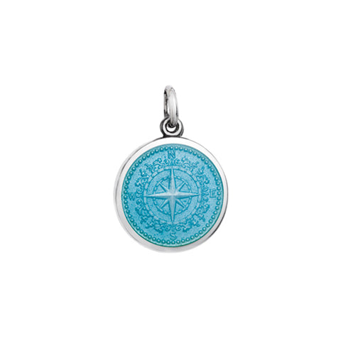 Small Colby Davis Compass Charm in Light Blue