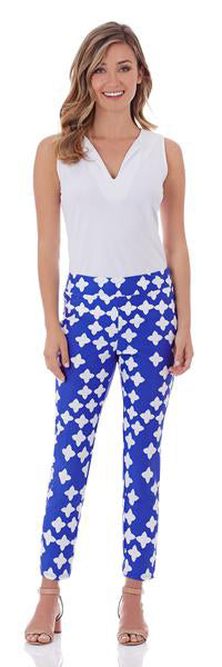 Lucia Slim Ankle Length Pant in Tossed Star Sapphire