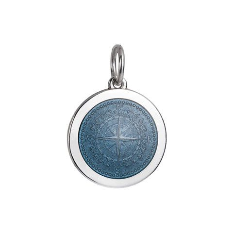 Medium Colby Davis Compass Charm in Grey