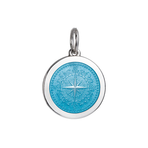 Medium Colby Davis Compass Charm in Light Blue
