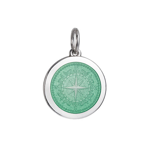 Medium Colby Davis Compass Charm in Light Green