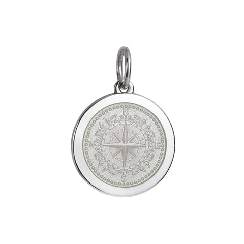 Medium Colby Davis Compass Charm in White