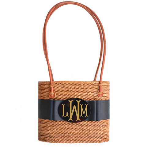 Monogram Medium Charlotte Bag with Black Ribbon
