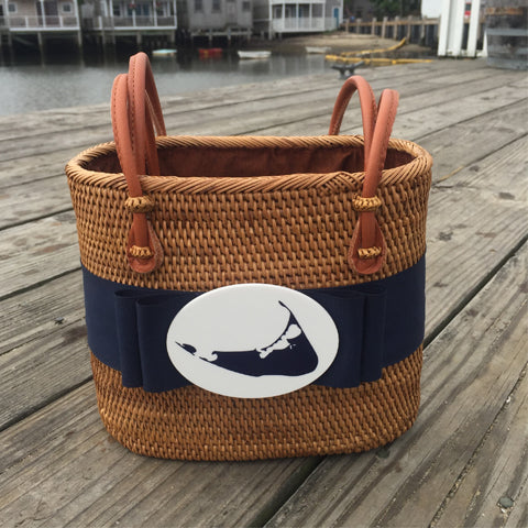 Nantucket Medium Oval Basket with Navy Ribbon