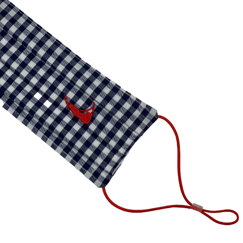 Nantucket Mask in Navy Gingham with Red Island