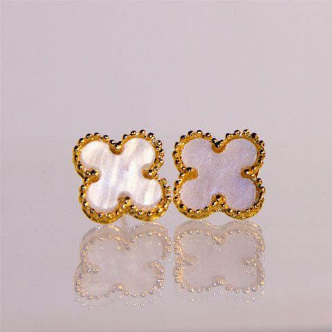 Medium Gold Cream Quatrefoil Earrings