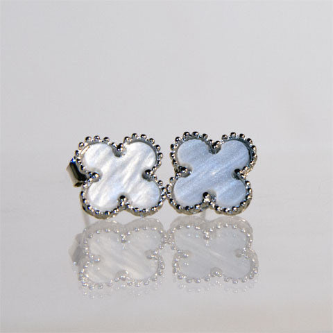 Medium Silver Cream Quatrefoil Earrings