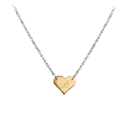 Two-Tone Engraved Mini Heart Necklace by Jane Basch