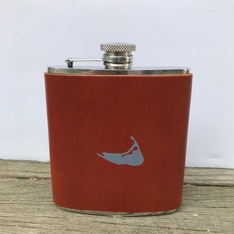 Leather Nantucket Flask By Nancy Jakubik