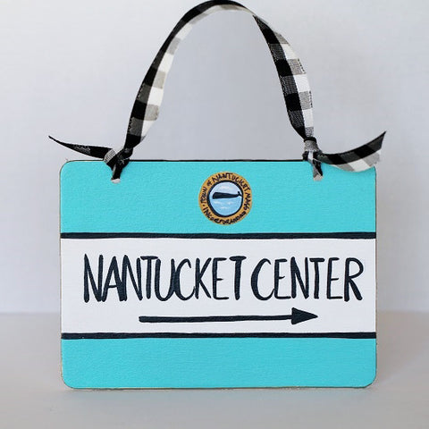 """Nantucket Center"" Street Sign Ornament"