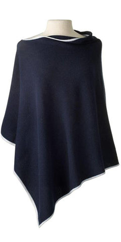 Cashmere Cape in Navy Tipped with Ecru