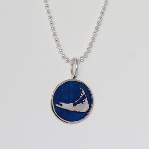 Small Enamel Nantucket Island Charm in Pearlized Navy