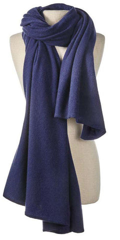 Cashmere Over-Sized Travel Wrap in Navy