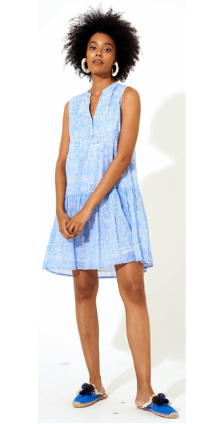 Tigerlily Button Neck Dress in Blue