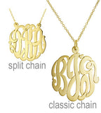 14kt Gold Hand Cut Script Monogram Necklace