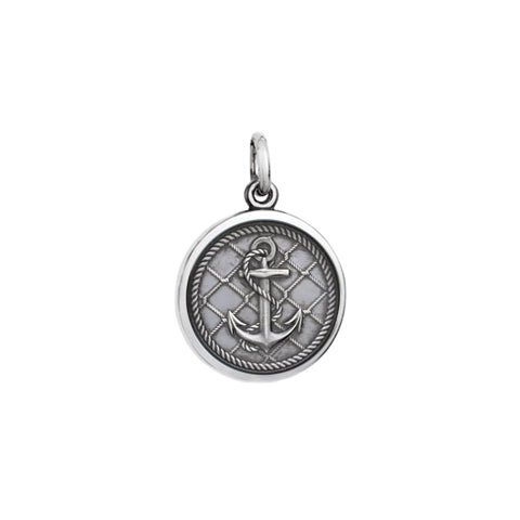Small Colby Davis Anchor Charm in Oxidized Silver