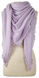 Cashmere Pom Pom Triangle Wrap in Lilac