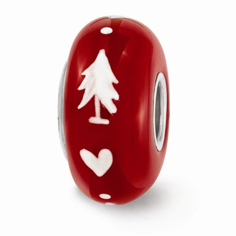 Red Christmas Tree Glass Bead
