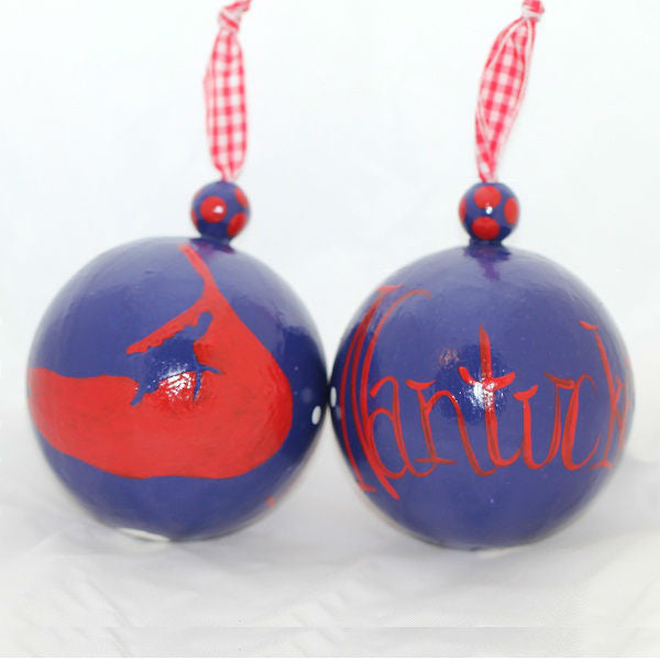 Navy & Red Nantucket Island Ornament
